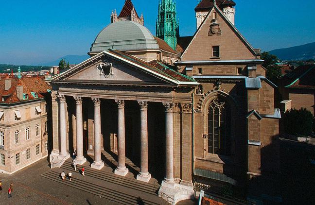 Vue aérienne sur la Cathédrale Saint Pierre de Genève