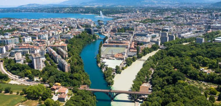Vue sur la Jonction à Genève