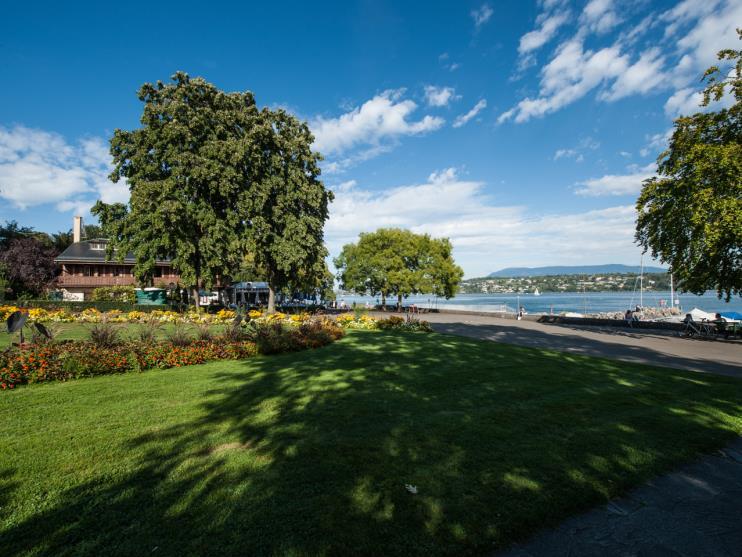 vue sur le parc de la perle du lac